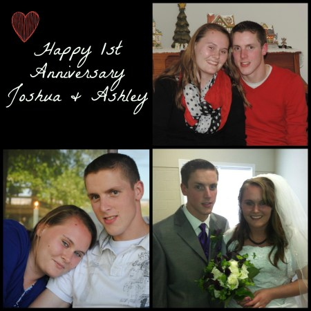 Sending very HAPPY 1st Anniversary greetings to our Joshua & Ashley!