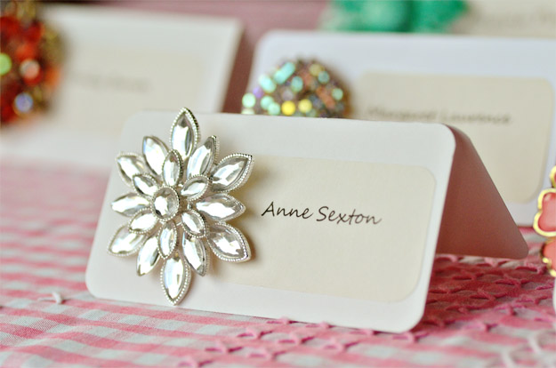 vintage brooch escort name cards diy