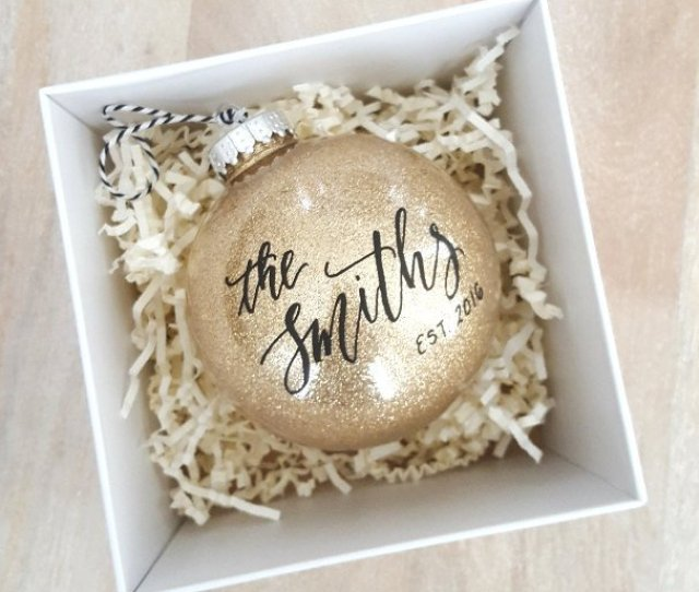 Celebrate Your First Christmas Together With This Sparkly Personalized Ornament From Theletteringstudio