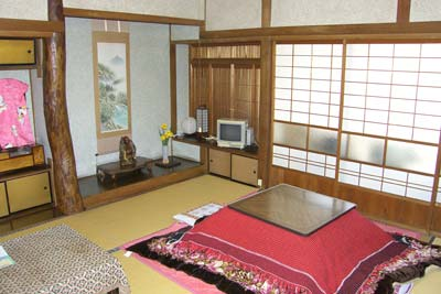 The traditional tatami living room of our suite at the Hoshi Ryokan.
