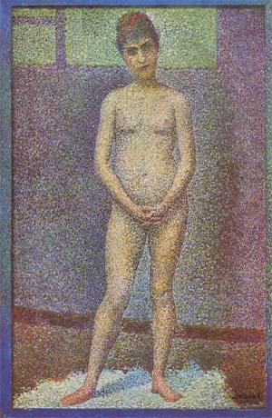 la donna è uno sciame d'elettroni cromatici (Seurat)