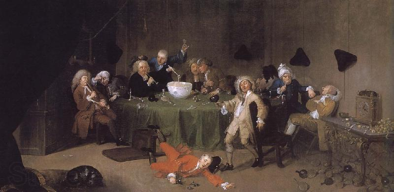 William Hogarth A modern midnight conversation