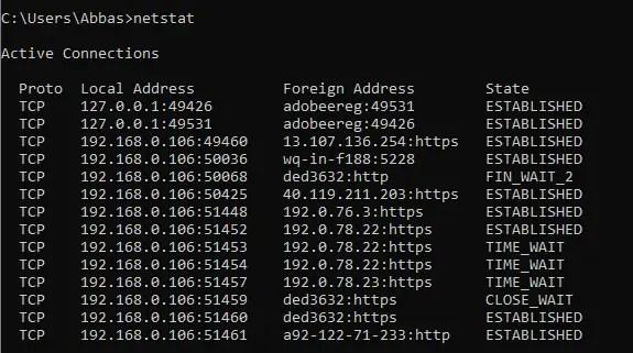 Network Management Commands on Windows
