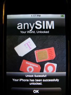 anySIM 1.3 unlock successful