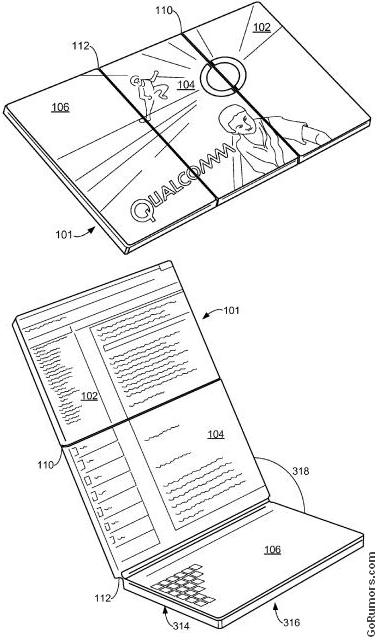 Qualcomm patent shows multi-fold panels for tablet