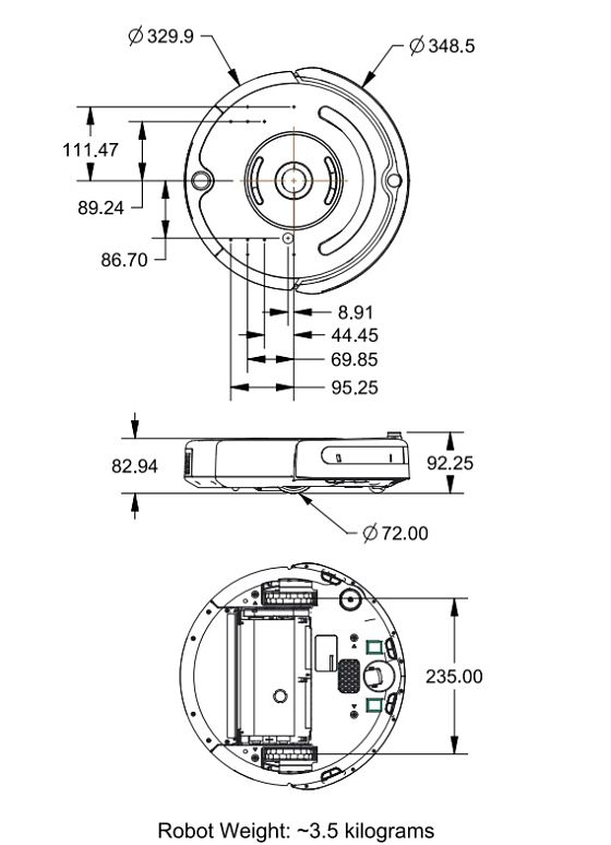 Roomba create 2 Physical Dimensions_opt