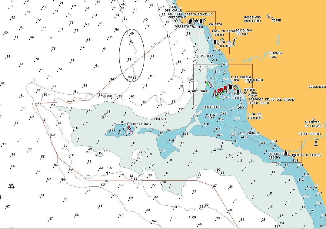 "carta nautica ""Ciglio di Terra"" - reef ""Ciglio di terra"" nautical chart - intotheblue.it"