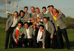 The Europe Ruder Cup team pose for pictures after beating the US by 14 1/2 points to 13 1/2 points on the final day of the 2010 Ryder Cup golf competition at Celtic Manor golf course in Newport, Wales on October 4, 2010.