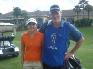 Hannah Yun and Caddie Dave Andrews at LPGA Q School in Daytona Beach, FL