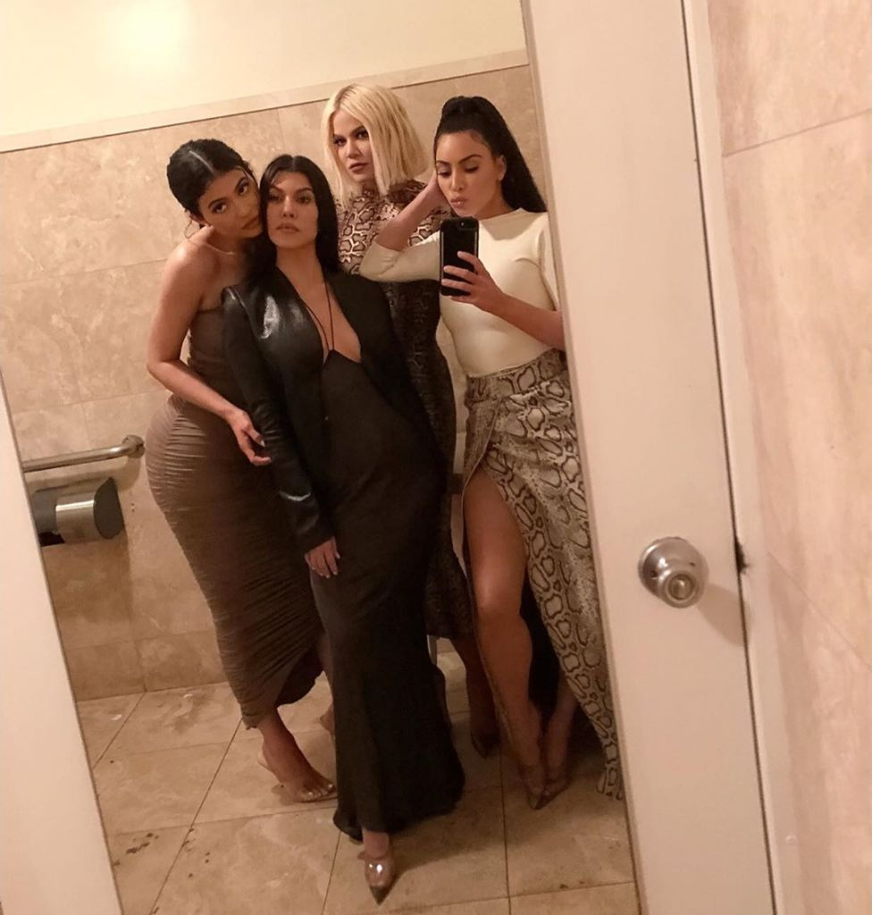 Kourtney Kardashian With Kim Kylie Khloe Taking a Mirror Selfie