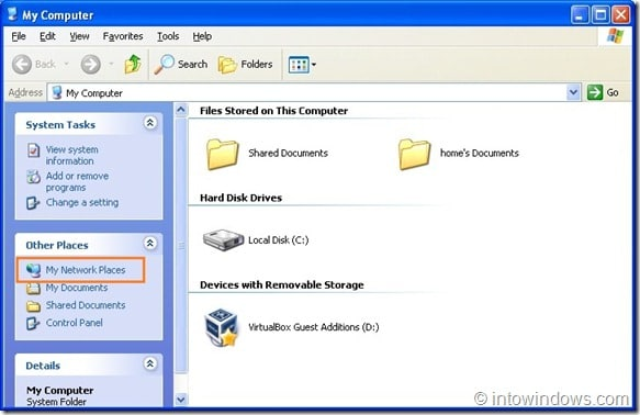 Share Folders Between VirtualBox  XP Gues And  Host Machine Step1