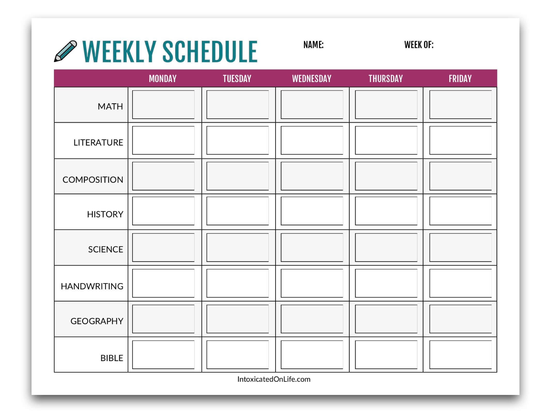 Printable Assignment Planner For Kids And Teens Education