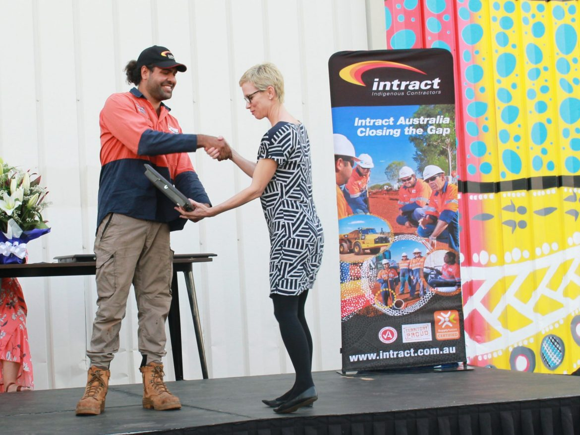 Intract staff member receiving an award at Intract North's Inaugural NAIDOC Event