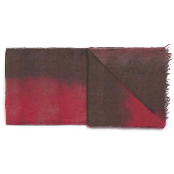 C10752 Scarf Tye&Dye 100% Cashmere - Red Brown