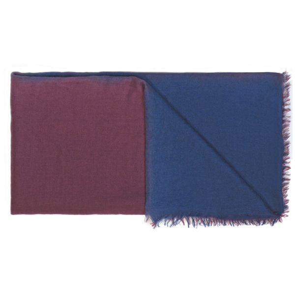 C1M142 Scarf Intreccio BIcolor Blue and Bordeaux