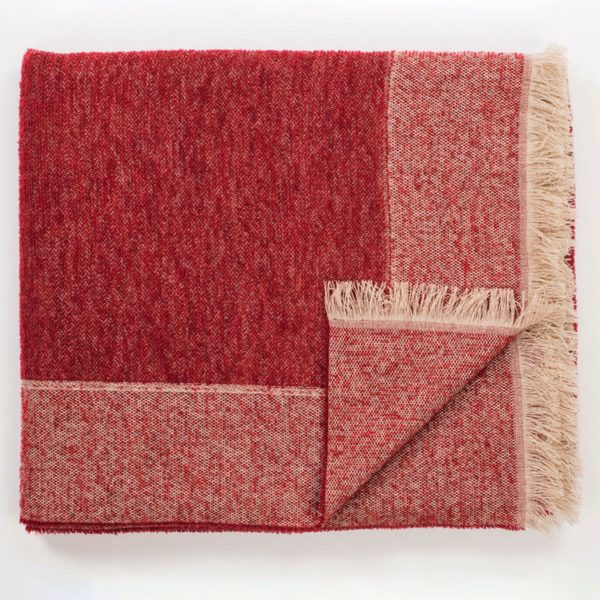 J10885 Plaid Double - Cashmere and Bouclé Wool - Red
