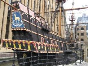 The replica of the Golden Hind, Sir Francis Drakes famous ship