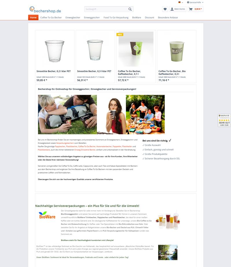 Screenshot des Onlineshops Bechershop