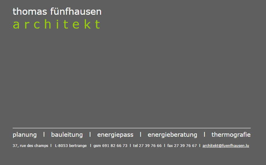 Screenshot der Webvisitenkarte des Architekten Thomas Fünfhausen