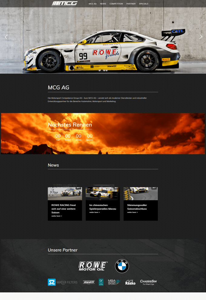 Screenshot der Website MCG AG