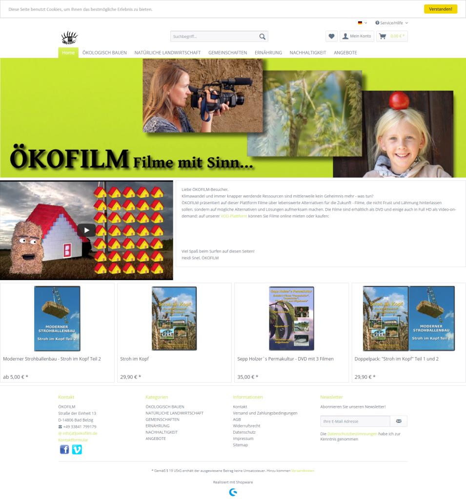 Screenshot des Webshops Ökofilm - oekofilm.de