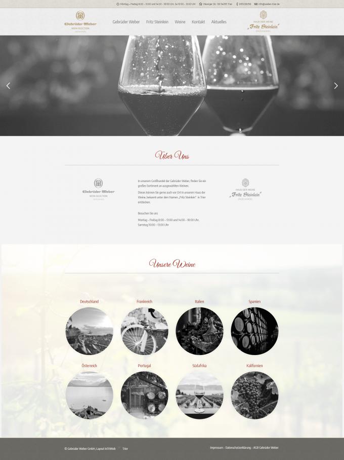 Screenshot der Weinhandel Webseite weber-trier.de