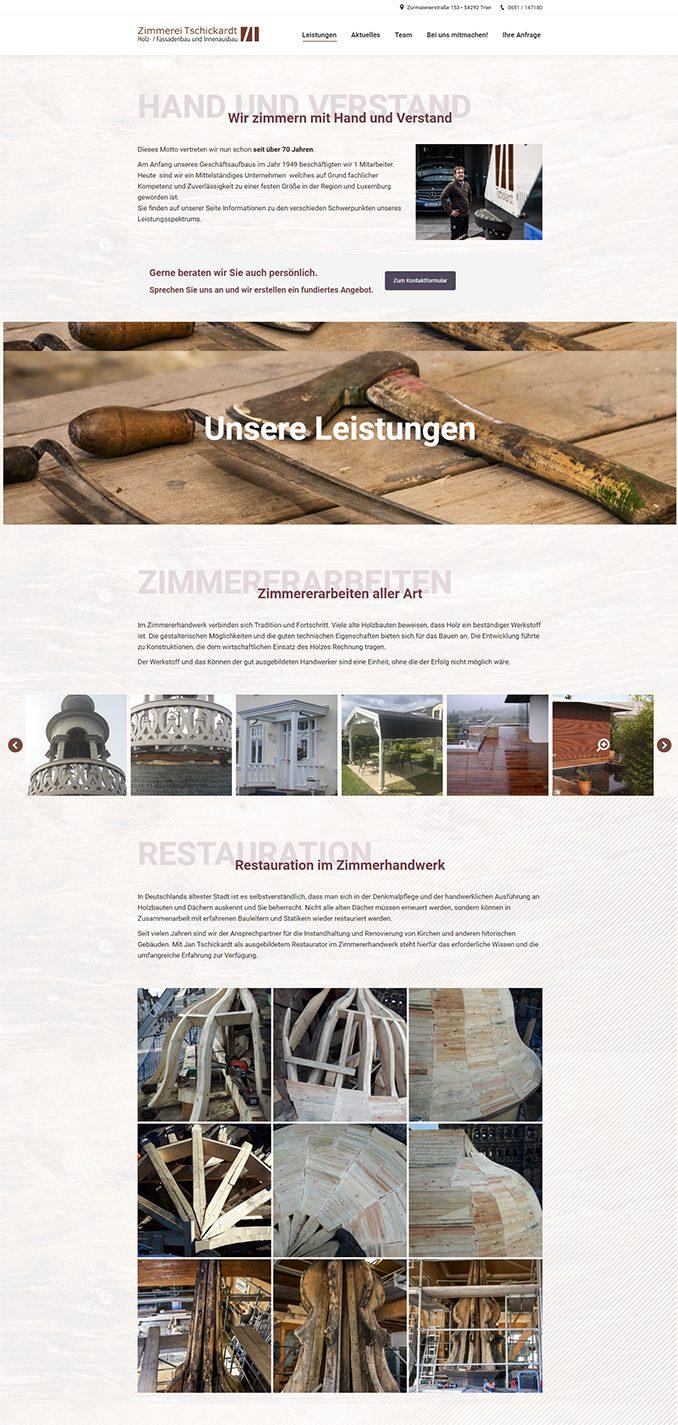 Referenz Zimmerei Tschickardt, Webseiten Screenshot