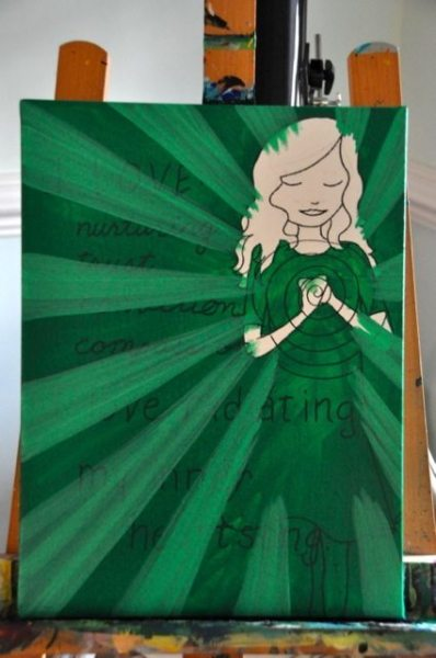 Step #3: Add some rays of energy coming out of the heart area with lighter green paint.