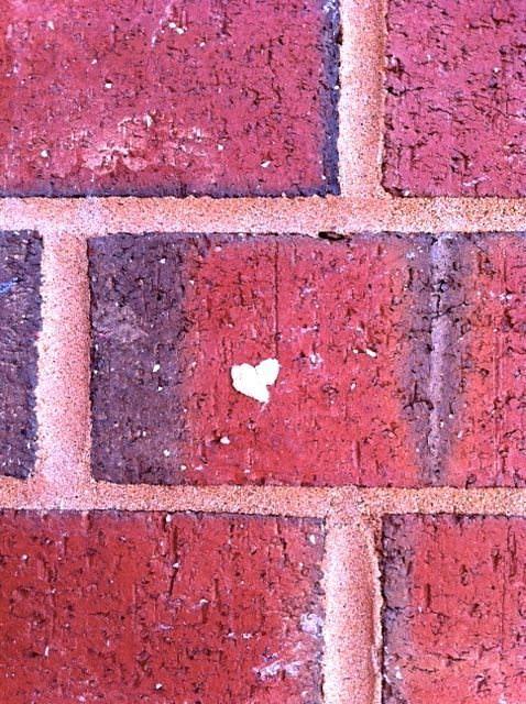 heart on bricks