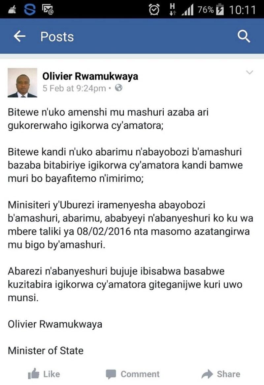Itangazo rigaragara kuri twitter ya Olivier Rwamukwaya, Umunyamabanga wa Leta muri MINEDUC.