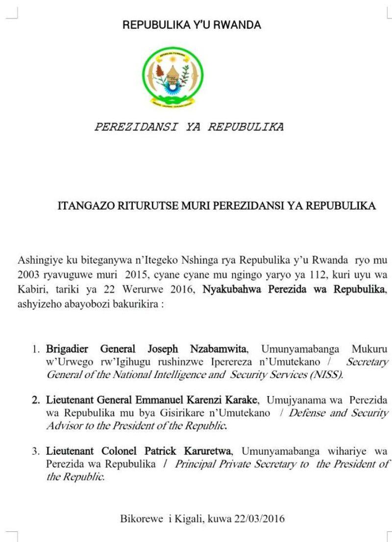 Itangazo rya Perezidansi ya Repuburika y'u Rwanda.