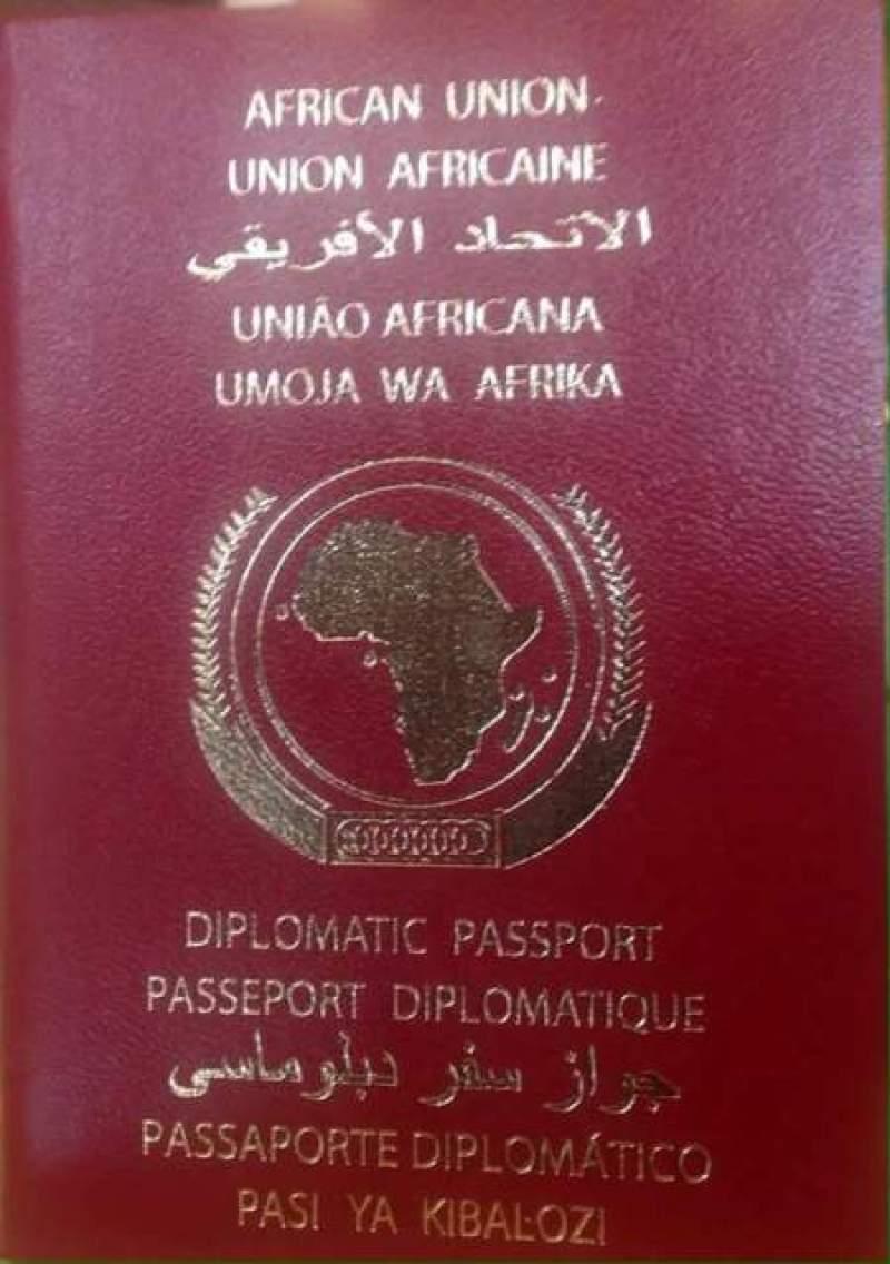 Urwandiko rumwe rw'inzira (passport nyafurika) urebeye inyuma.