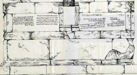 الشكل (01): صورة للوحتين على جدران المعبد ، اللوحة الأولى إلى اليمين والثانية على اليسار وهما مكتوبتان باللغتين البونية والليبية