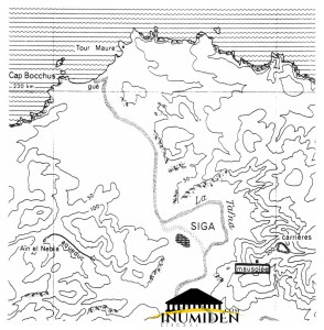 Fig. 4 : Carte de l'emplacement des vestiges de Siga sur la rive occidentale de la Tafna. (Vuillemot, G. 1971, « Siga et son port fluvial » : Fig. 1)