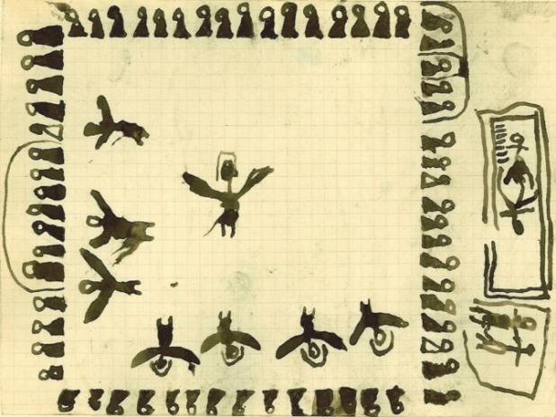 Fig. 6 Mariage. Abdelbaki Temissa, fraction des Ouled Khallaf, 11 ans. Fonds Thérèse Rivière, musée du quai Branly. Au milieu de l'un des côtés du rectangle formé par les hommes assis, la tente abritant les notables. Sur le côté opposé, la tente des danseuses. Au centre, les danseuses, dont une « main, puis l'autre ou les deux en même temps, soulèvent lentement les pans du elhâf, étendus comme l'aile claire ou sombre d'un grand oiseau » (Gaudry 1929 : 271). Recouvrant leur tête, le voile désigné par un arc de cercle (voir fi g.9). Sur un côté, deux maisons. Dans l'une, les mariés accouplés au pied du hiji.