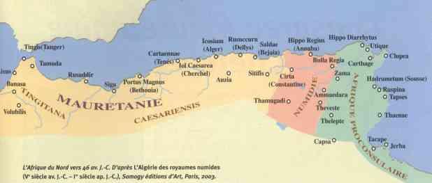 Carte des aires historiques de l'Afrique du Nord