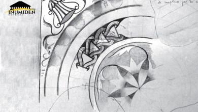 Fragments de mosaïques découverts dans les thermes de-Sadouri - Aurès. Dessin Ferry 1943