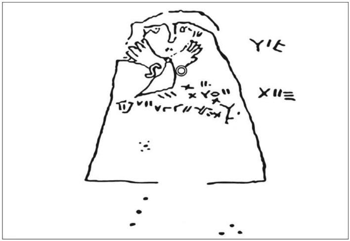 Figure 6. Récapitulatif des caractères formant l'inscription, (a) Visage, yeux exorbités, les lettres YIR figurent entre les mains jointes, suggérant des bracelets, (b) Caractères en forme de points, en usage dans la tafinaq saharienne, (c) Autres caractères en forme de points, en usage dans la tafinaq saharienne, (d) Tagenza « Le front ». (e) Groupe de caractères formant le corps du texte. On remarquera la première ligne, tendue vers le haut, qui se lit de droite à gauche. Elle présente une extrémité en boustrophédon, c'est-à-dire projetée vers le bas, à la manière de certaines gravures rupestres sahariennes. La seconde ligne, qui se lit également de droite à gauche, est infléchie vers le bas. (D'après un dessin du baron de Baye, reproduit in Gorce)