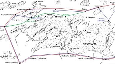 Fig. 1. – Routes et villes musulmanes de l'Aurès (carte Y. Modéran)