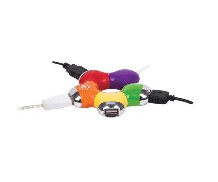 Hub USB multicolor de 4 puertos. Manhattan. Foto con cables conectados
