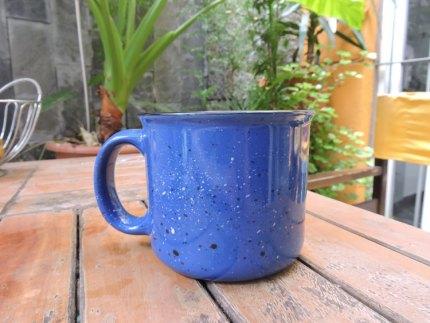 Taza ceramica retro, azul.