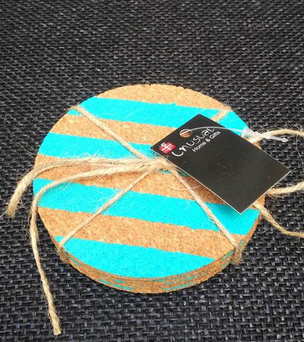 Foto 3 - posavasos corcho - Diseño lineas turquesa - Cerrado