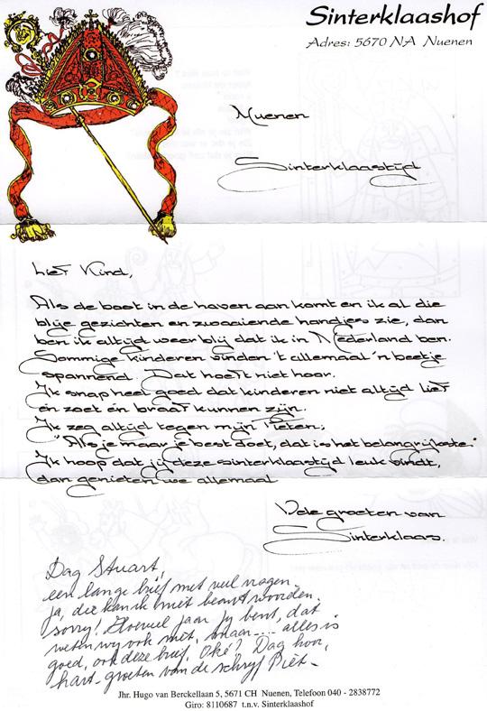 Sinterklaas Reply Letter Front