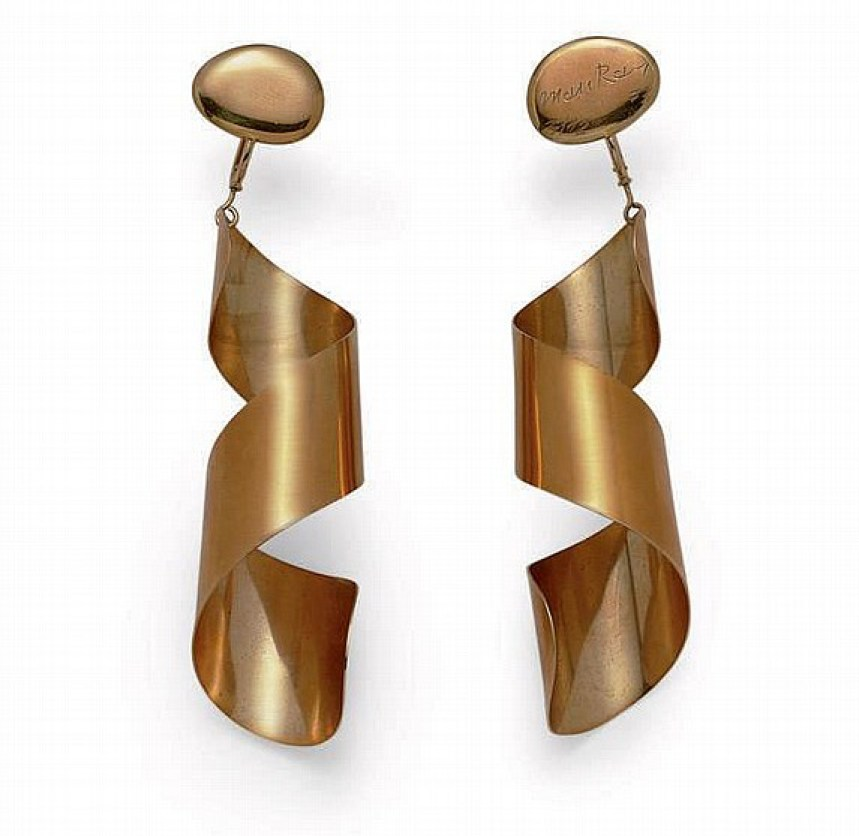 18 carat gold earrings in spiral design by Man Ray