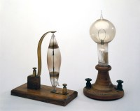 Electric filament lamps made by Swan (left) and Edison