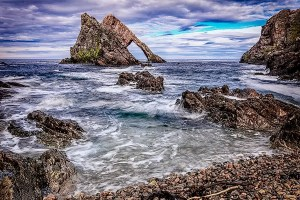 Sea stack known as Bow Fiddle Rock