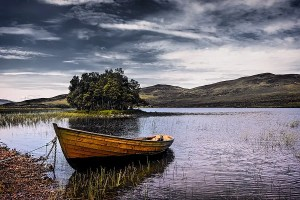 A rowing boat on Loch Awe