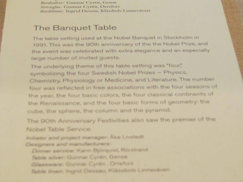 Info on the Nobel banquet