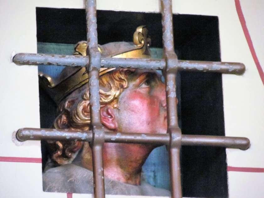 Cardiff Castle - boy behind bars deccoration