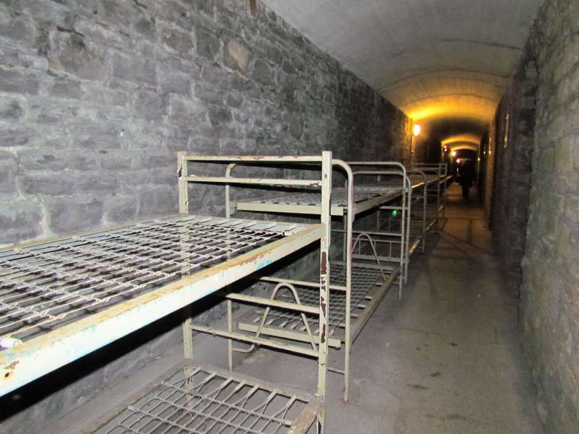 Cardiff Castle - beds in the bomb shelters